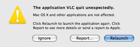 cogito ergo mac: The application VLC quit unexpectedly